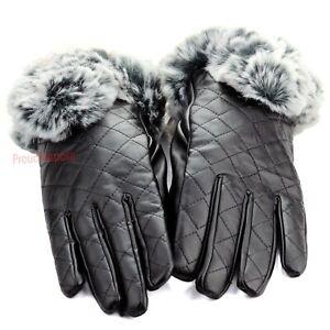 New Womens Winter Wrist Dressy Gloves Leather Thermal Lining Rabbit Fur Cuff