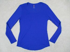 Lucy Active Small Long Sleeve Shirt Top Active Wear Scoop Neck Blue