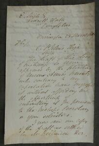 1857, Letter, Warrington, Cheshire, to Jodrell Hall, Jodrell Bank, Egerton Leigh