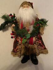 "Christmas Santa Claus 19"" Figure Red Robe holding Garland"