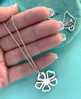 Tiffany & Co Sterling Silver Solid Chain Necklace Open FLOWER Charm Pendent