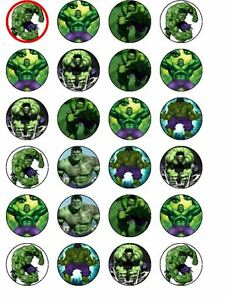24 X PRE CUT HULK MIX WAFER PAPER PARTY CUP CAKE TOPPERS