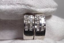 14k White Gold Diamond Earrings Channel Set Diamonds 0.35 CTW WOW Rare