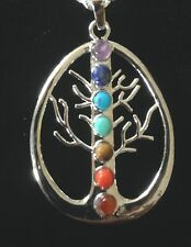 Necklace Silver Tree of Life Gemstones 7 Chakras Hippie Bohemian Ethnic N1006
