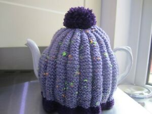 NEW,HAND KNITTED,PURPLE FLECK RETRO STYLE TEA COSY , COSIES FIT UP TO,3 PINT