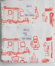 TWO Girls Can Tell Camping RV Pattern Floursack Tea Towel USA made Handprinted