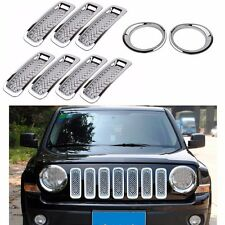 9pc Chrome Front Grille Mesh Trim+Head Light Cover Trim For 2011-17 Jeep Patriot