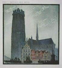 MALINES, ABBEY, FRANCE By VERPILLEUX Old 1920s Print of a Woodcut / Woodblock