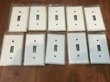 10 Pack, Mulberry White 1-Gang Toggle Wall Switch Plate-Metal