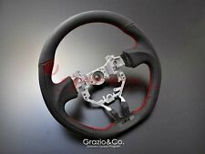 Grazio & Co Flat Bottom Steering Wheel 86 ZN6 Black leather with red stitching