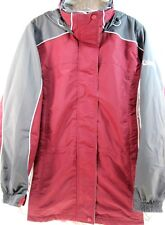 Columbia Women Jacket Size S Gray White Maroon Hoodie Metal Buttons