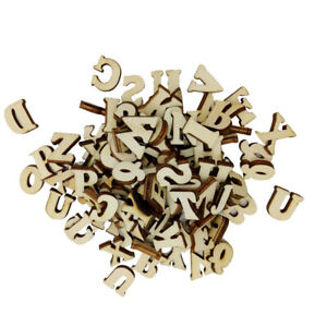 100Pieces Natural Wooden Letters Spelling Tool Scrapbooking Child Toys