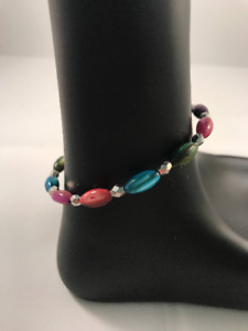 Multicolor Shell Bead Wire Wrap Bracelet