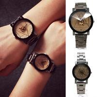Luxury Men/Women Lovers Stainless Steel Quartz Analog Compass Wrist Watch Gift