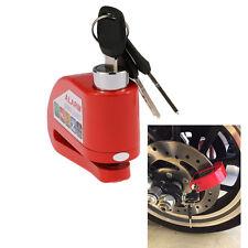 Red Metal Motorcycle Scooter Security Anti-theft Wheel Disc Brake Lock Alarm Kit