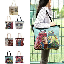 Women Bag Canvas Shoulder Bag Embroidery Cat Clutch Handbag Female Shopping 2017