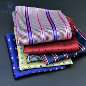 Men Handkerchief Hanky Polka Dot Plaid Paisley Pocket Square 25*25cm Chest Towel