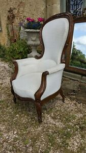 Antique quality French C1870 Mahogany spoon back Gentleman's Library Armchair