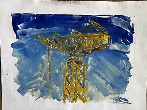 Donald James White Original Watercolour Shipyard Crane
