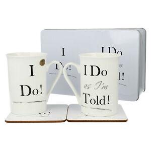LESSER & PAVEY LP91919 I DO! I DO AS I'M TOLD! WEDDING MUGS COASTER BOX GIFT SET