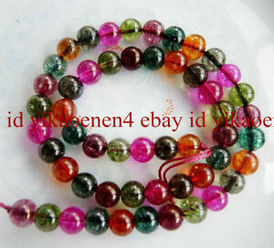 """Natural 6mm Multicolored Round Tourmaline Gemstone Loose Beads 15"""" AAA+"""