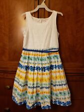 BLOOME DE JEUNE FILLE SUNDRESS, Belted, GIRLS 12, White Blue Yellow Floral