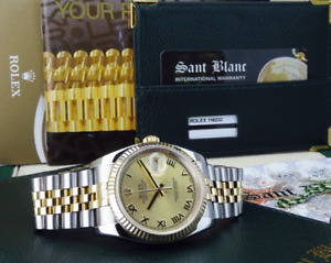ROLEX 36mm 18kt Gold /Stainless Steel DateJust Champagne Roman 116233 SANT BLANC