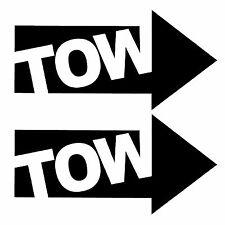 2 x JDM BLACK TOW ARROWS - Race / Rally Car Decals / Stickers