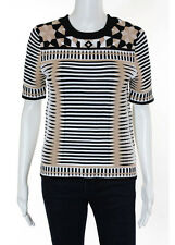 NWT TORN BY RONNY KOBO Black White Beige Short Sleeve Ziva Blouse Sz XS $290