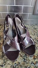 Montego Bay Club Faux Patent Leather Strappy Cork Wedge Heels Women's Size 9