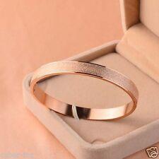 14k Rose Gold Matte Scrub Fine Stainless Steel Oval Women's Bangle Bracelet Gift