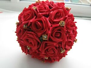 Indian / Asian Handtied Bouquet Red and bright Gold Wedding Flowers Rose Posy