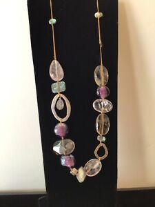 """Silpada Sterling Silver Amethyst, Quartz and Shell 24"""" Necklace N2104"""