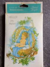 """16 ~ Vintage Baby Birth Announcement Cards w/Envelopes- """"Hello I'm Here"""""""