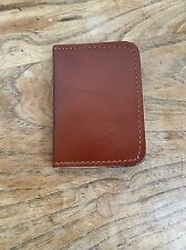Handmade Cow Leather Card Purse Tan Brown Bi-fold Light Pocket Wallet Holder