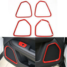 For Compass 2017+ Red ABS Car Interior Door Speaker Audio Sound Cover Trim x4