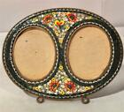 Vintage Micro Mosaic Double Picture Frame W/ Easel Back Italy