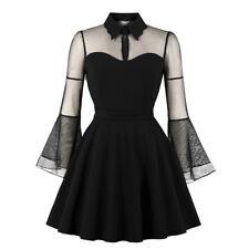 Sexy Women's Long Sleeve Queen Dress Vintage Punk Party Gothic Lolita Mesh Dress