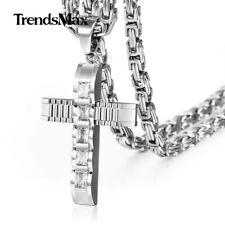 Cubic Zirconia CZ Cross Necklace Pendant Stainless Steel Byzantine Box Chain Men