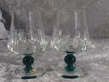 Friedrich Glas Kristallglas 2x Weinglas Stiel grüne Kugel mundgeblasen 60er