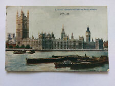 Houses of Parliament from River Thames London Vintage colour Postcard c1920