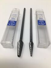 "Grobet USA Carbide Burr Bur Bits, 6"" Long Shanks, 3/8"", 1/2"", Radius Taper Cones"