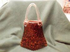 "Vintage Murano Glass Leopard Purse Vase  basket  Hand Blown Clear Handles  14"""