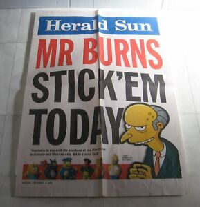 The Simpsons Banner Poster  - Herald Sun Stick Ems Figurines 2009 Mr Burns
