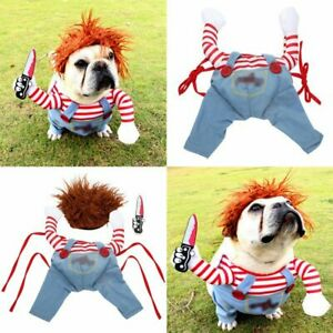 Pet Dog Halloween Cosplay Costumes Outfit Wig Hat Funny Suit(Stuffed Front Legs)