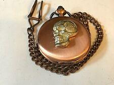 Skull TG117 Pewter, Red Copper Pocket Watch Quartz fob