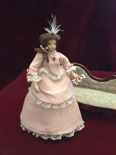 dolls house miniature porcelain 1/12 scale doll in a handmade silk ball gown