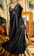 USA L Vintage Glossy Liquid Satin Long Black Nightgown Rhinestone Sparkle