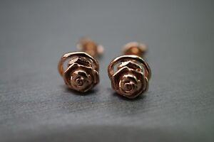 Beautiful 14K Solid Rose Gold Rose Design Stud Earrings!! (#1165154)