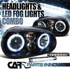 99-06 VW Golf GTI Mk4 Black Dual Halo Projector Headlights+6-LED Fog Lamps